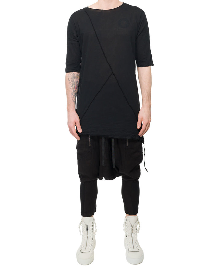 LA HAINE INSIDE US LONG SHIRT WITH BUTTONED SIDE - BLACK