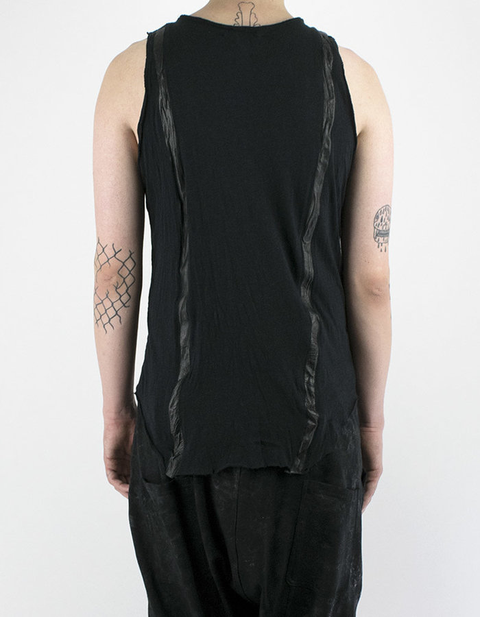 SANDRINE PHILIPPE COTTON AND LEATHER STRIPS TANK TOP - BLACK