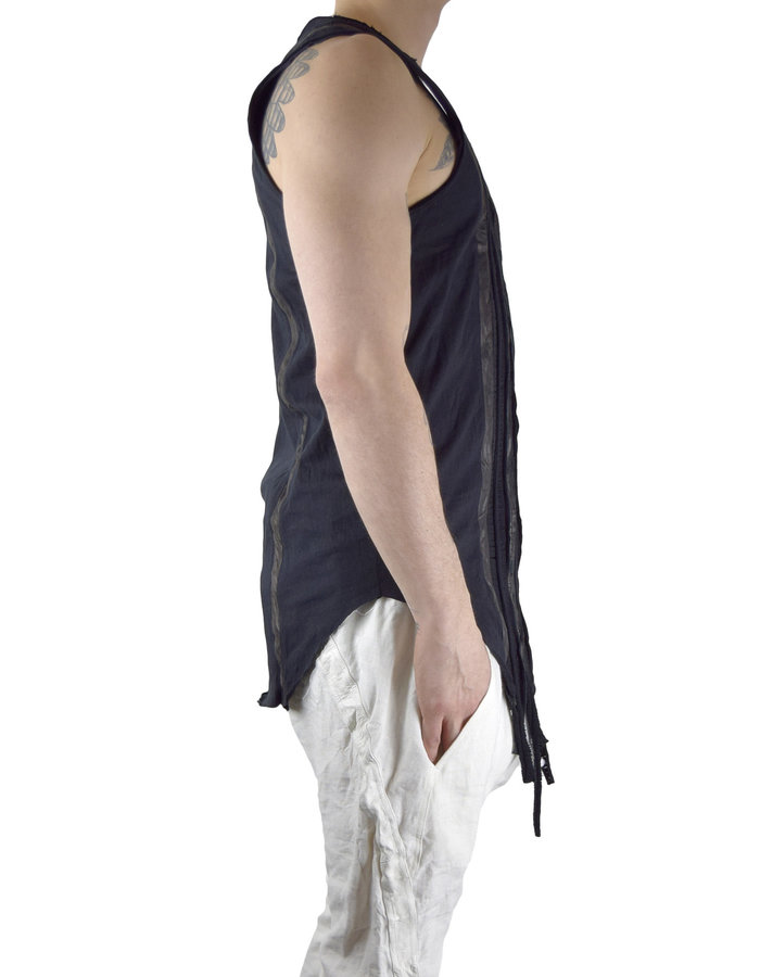 SANDRINE PHILIPPE TANK TOP WITH LEATHER WOVEN BAND - BLACK