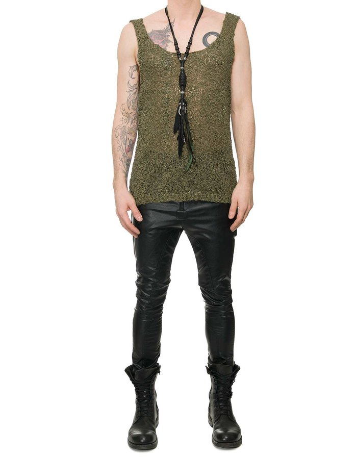 NOSTRA SANTISSIMA TEXTURED HAND KNIT TANK TOP - MILITARY