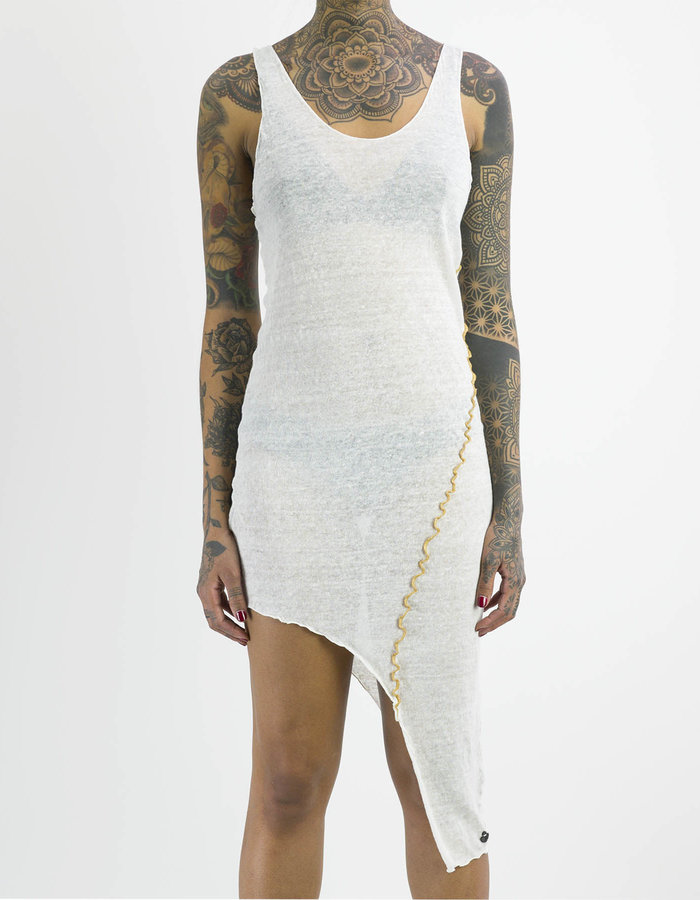 NOSTRA SANTISSIMA LINEN ASYMMETRIC DRESS - OFF WHITE