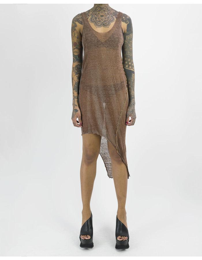 NOSTRA SANTISSIMA LINEN ASYMMETRIC DRESS - BROWN