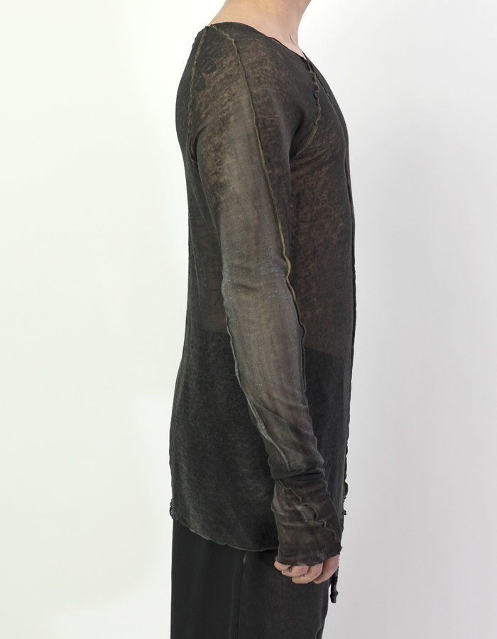 NOSTRA SANTISSIMA LONG SLEEVE WASH DYE TOP - BLACK