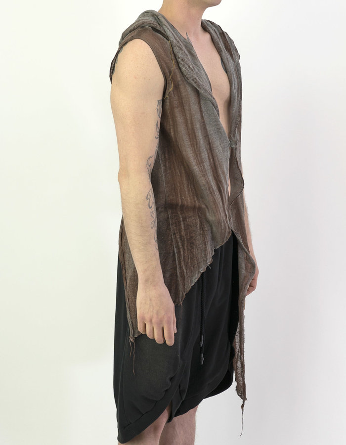 NOSTRA SANTISSIMA CROSSOVER HOODED VEST - BROWN