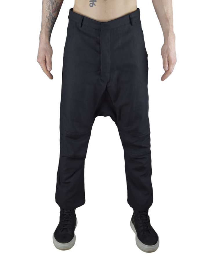 NOSTRA SANTISSIMA COTTON LINEN KNEE DETAIL PANT - BLACK