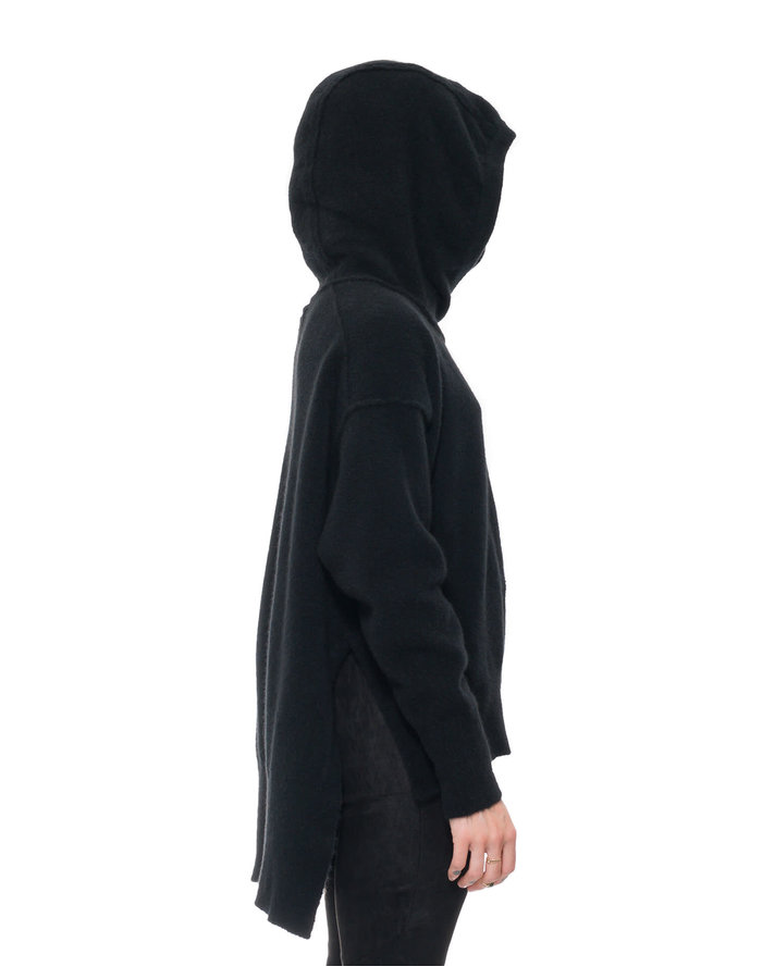 ISABEL BENENATO YAK HOODED  BOXY TURTLENECK - BLACK