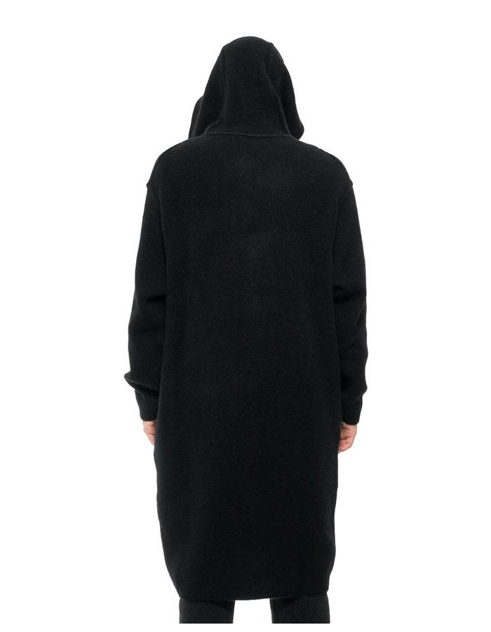 ISABEL BENENATO LONG YAK HOODED CARDIGAN COAT - BLACK