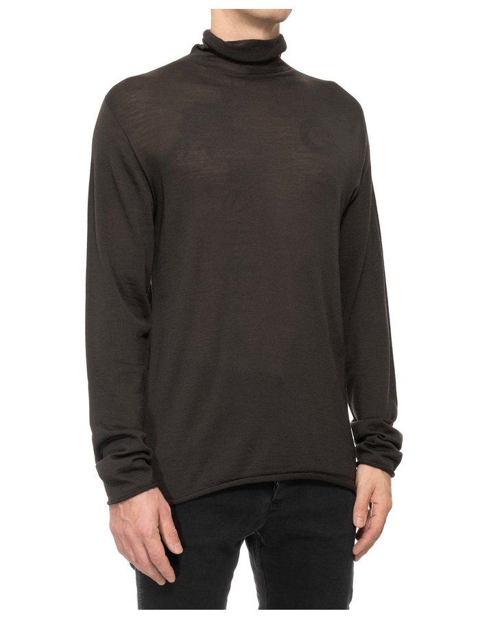 ISABEL BENENATO SEEMLESS LIGHT WOOL TURTLENECK - MILITARY