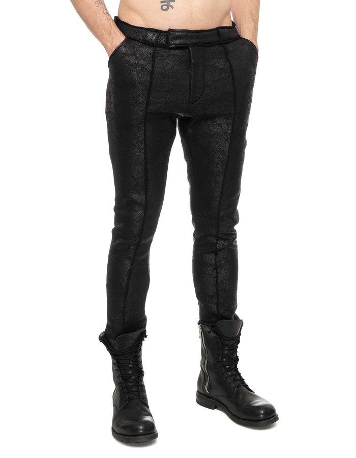 DAVIDS ROAD PLEATED TROUSERS - LEATHER EFFECT