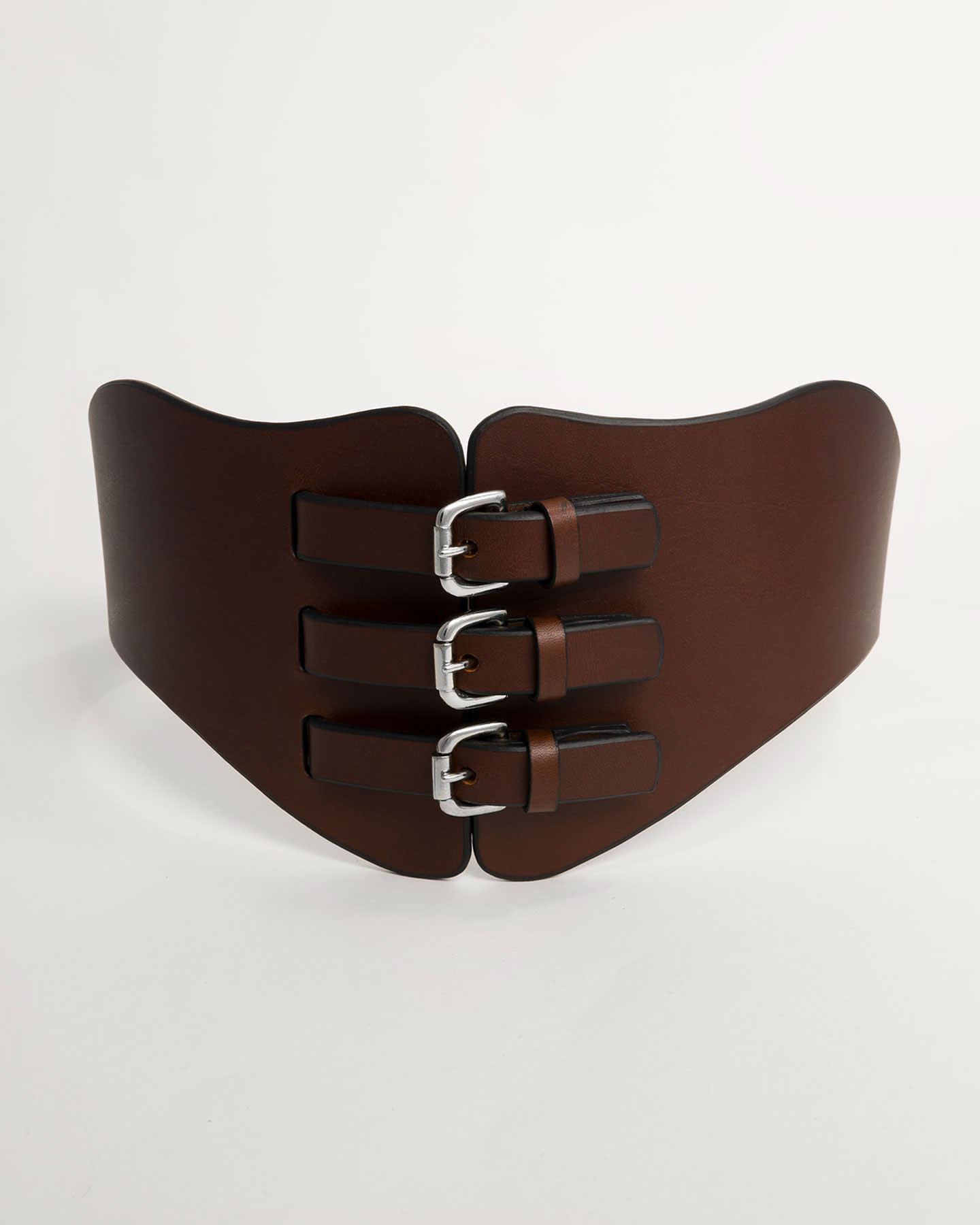 THREE BUCKLE WING CORSET - BROWN