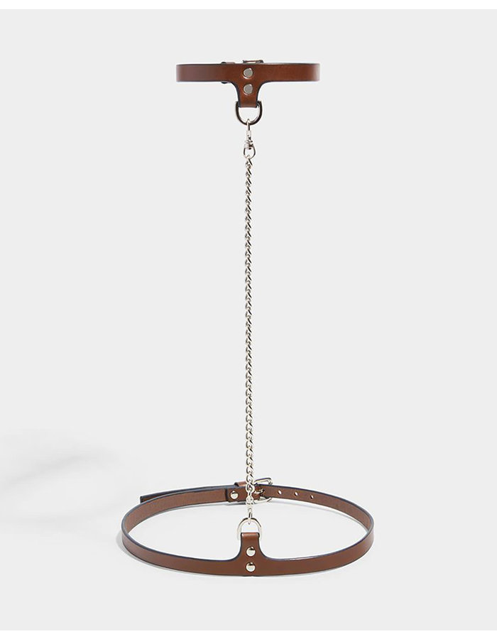 FLEET ILYA SLIM CHAIN COLLAR AND BELT - BROWN