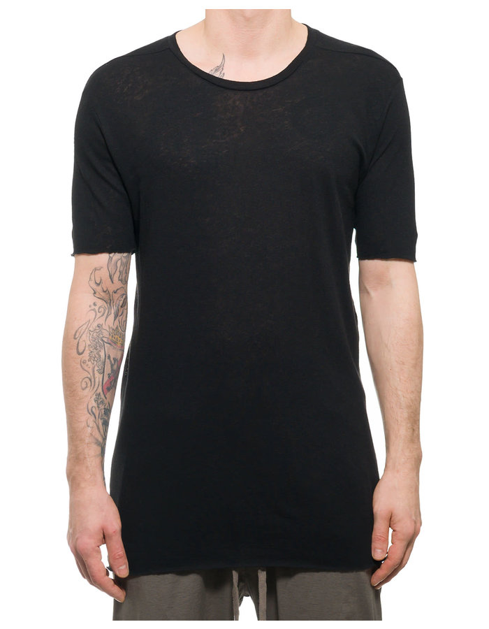 THOM KROM COTTON AND LINEN TEE WITH STITCH - BLACK