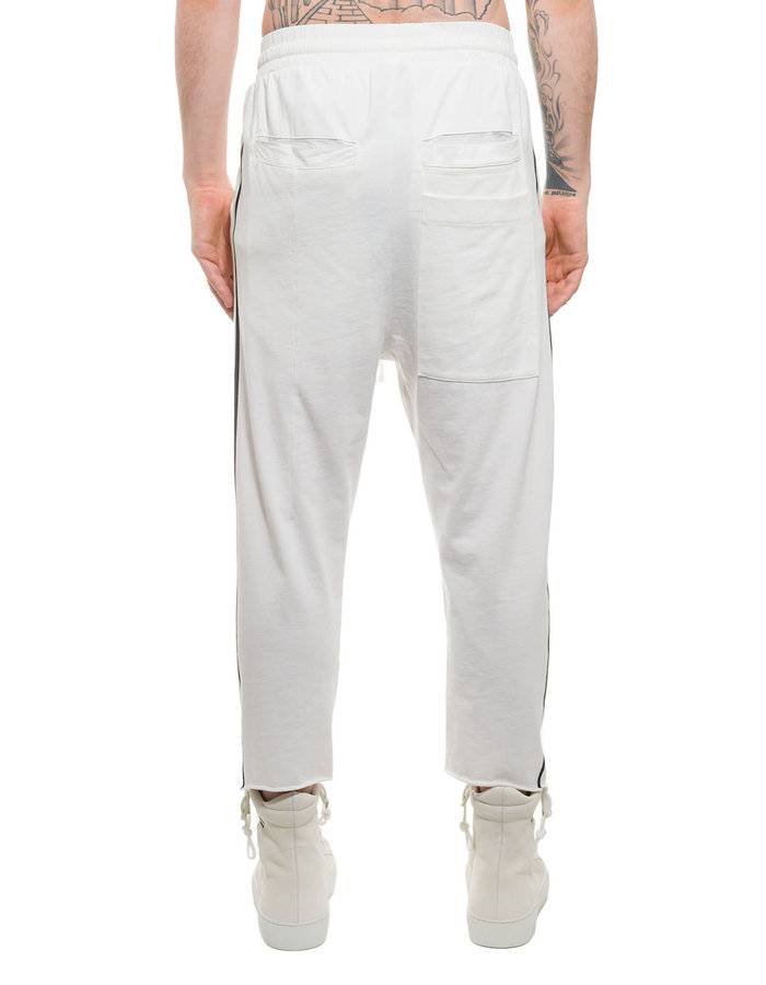 THOM KROM LOW CROTCH CROPPED COTTON TROUSER W/ STRIPE - OFF WHITE