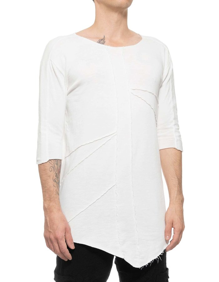 LA HAINE INSIDE US STRETCH COTTON EXPOSED SEAM TEE - WHITE