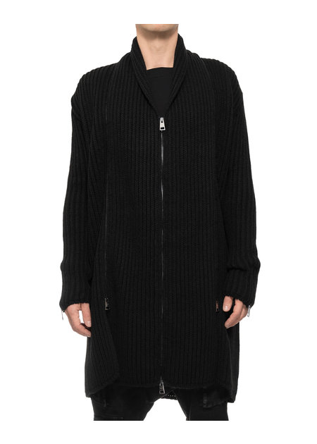LA HAINE INSIDE US KNIT CARDIGAN W/ ZIP OFF SCARF
