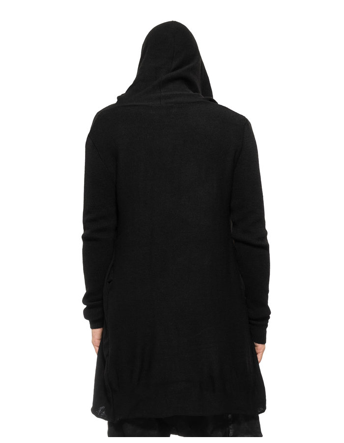 LA HAINE INSIDE US CROSSOVER BUTTON KNIT HOODED CARDIGAN