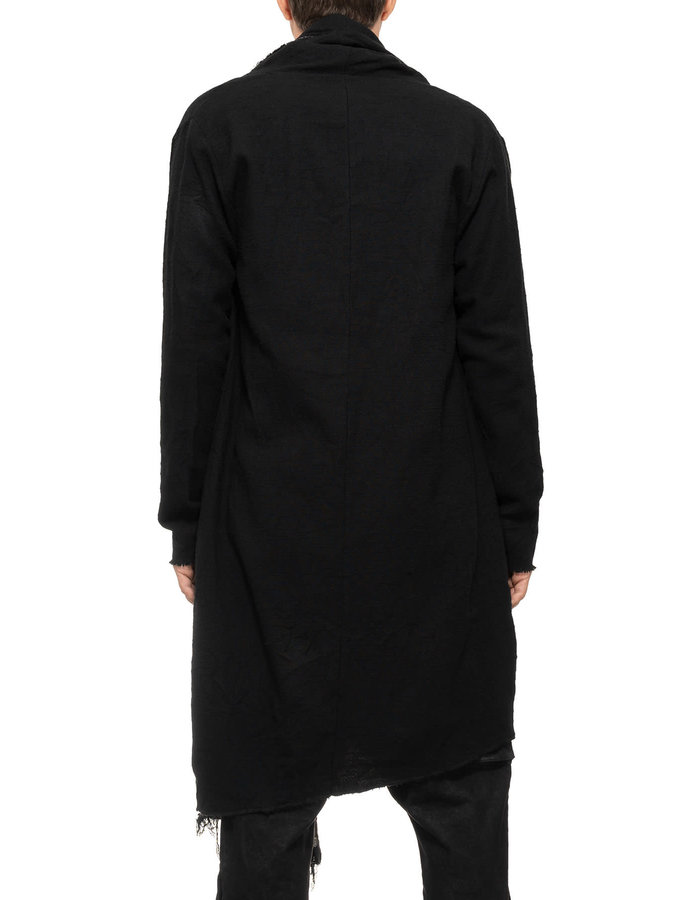 LA HAINE INSIDE US COTTON AND WOOL CARDIGAN W/ ZIP OFF PANEL