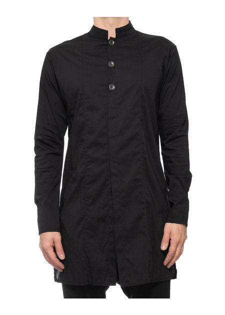 LA HAINE INSIDE US LONG POPLIN STRETCH MANDARIN COLLAR SHIRT