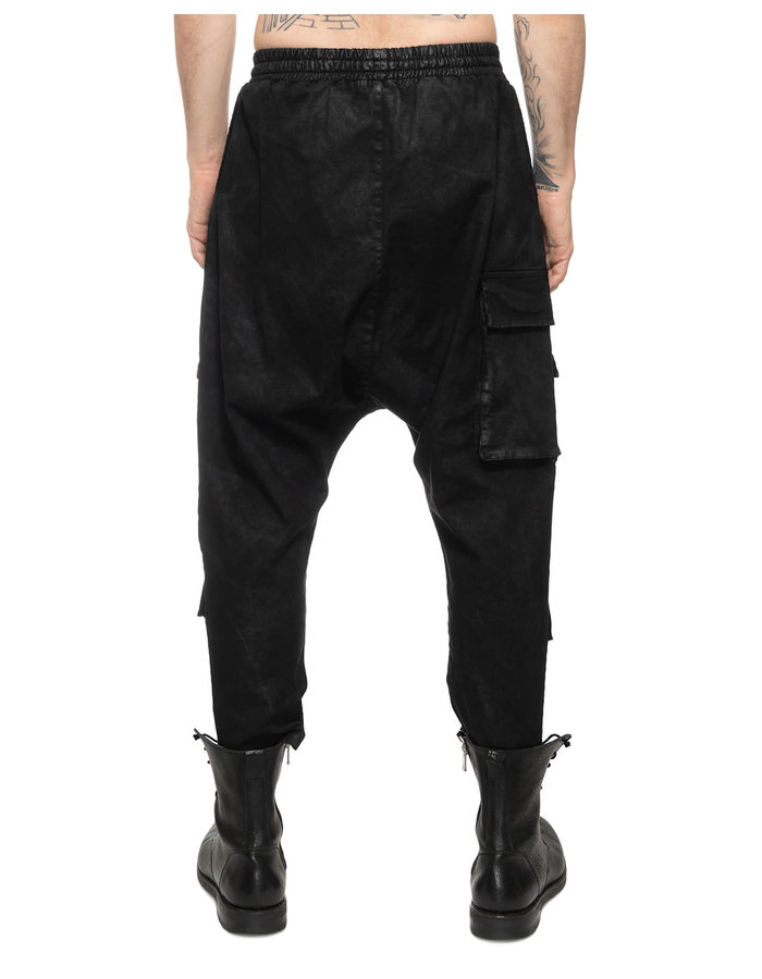 LA HAINE INSIDE US LAMINATED MULTI-POCKET DROP CROTCH