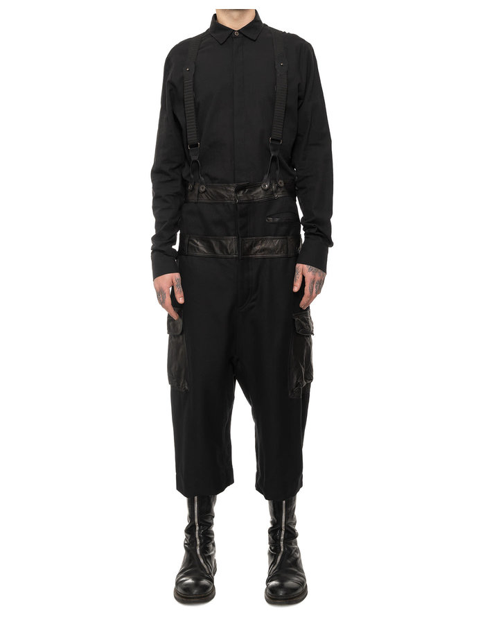 SANDRINE PHILIPPE DOUBLE BANDED COTTON & LEATHER CARGO OVERALL