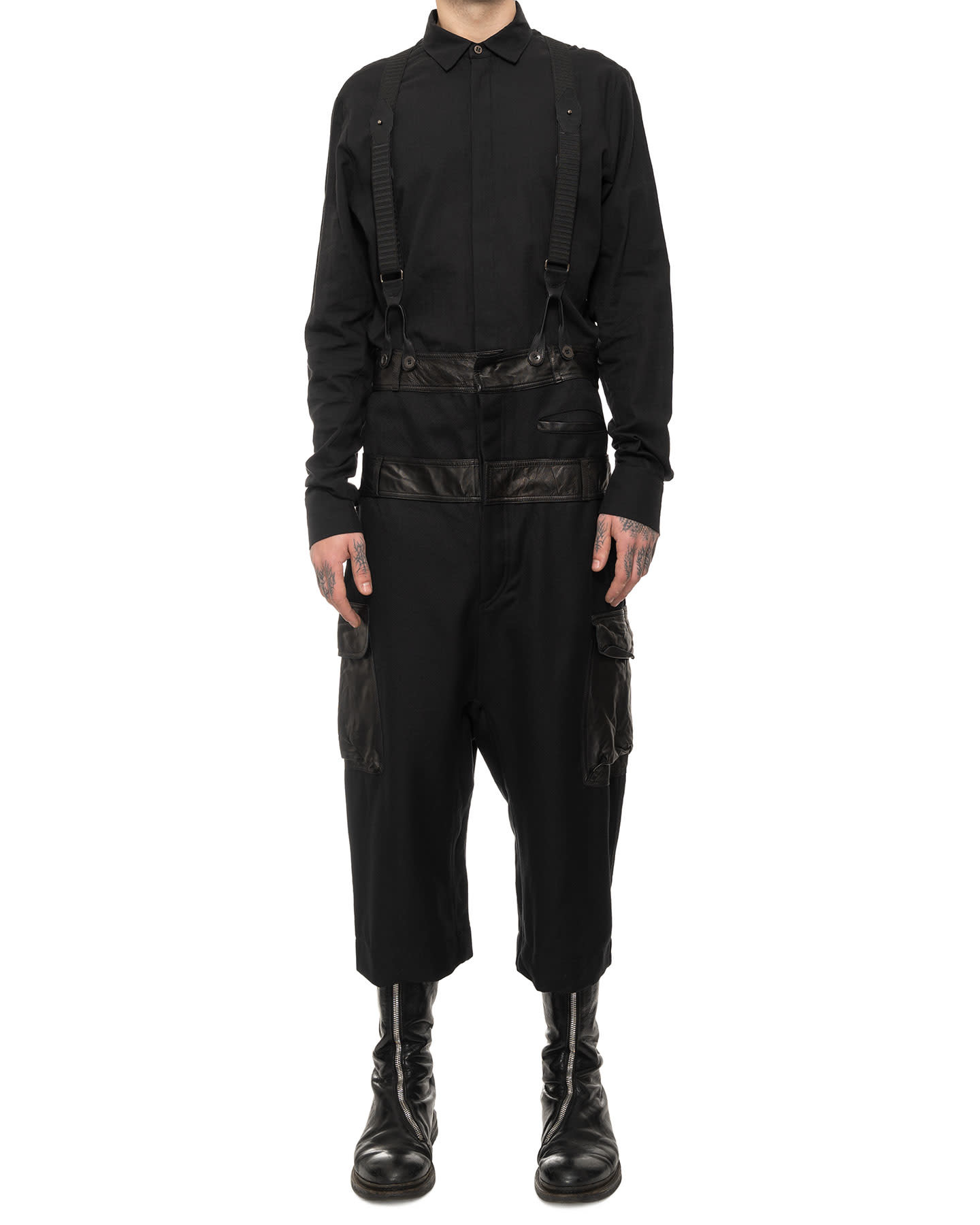 DOUBLE BANDED COTTON & LEATHER CARGO OVERALL