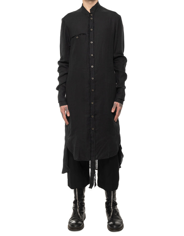 SANDRINE PHILIPPE LONG LINEN SHIRT WITH BELTED BACK