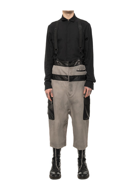 SANDRINE PHILIPPE DOUBLE BANDED COTTON & LEATHER CARGO OVERALL - SAND