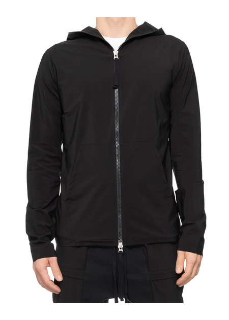 THOM KROM HYPER-STRETCH NYLON FULL ZIP HOODIE - BLACK