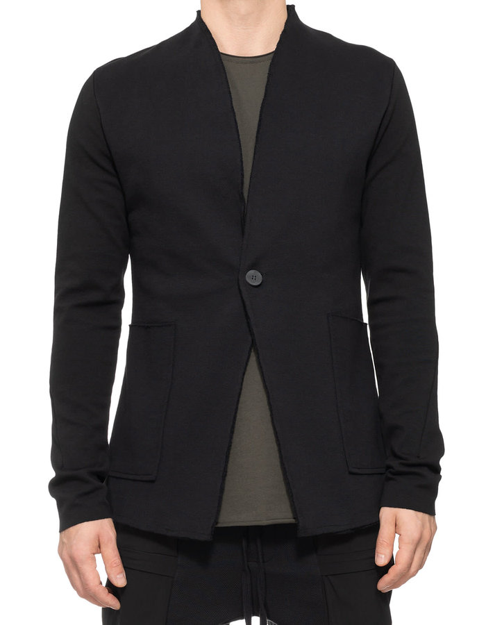 THOM KROM Collarless Stretch One Button Blazer