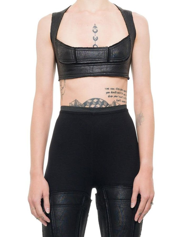 DAVIDS ROAD LEATHER EFFECT CROP TOP