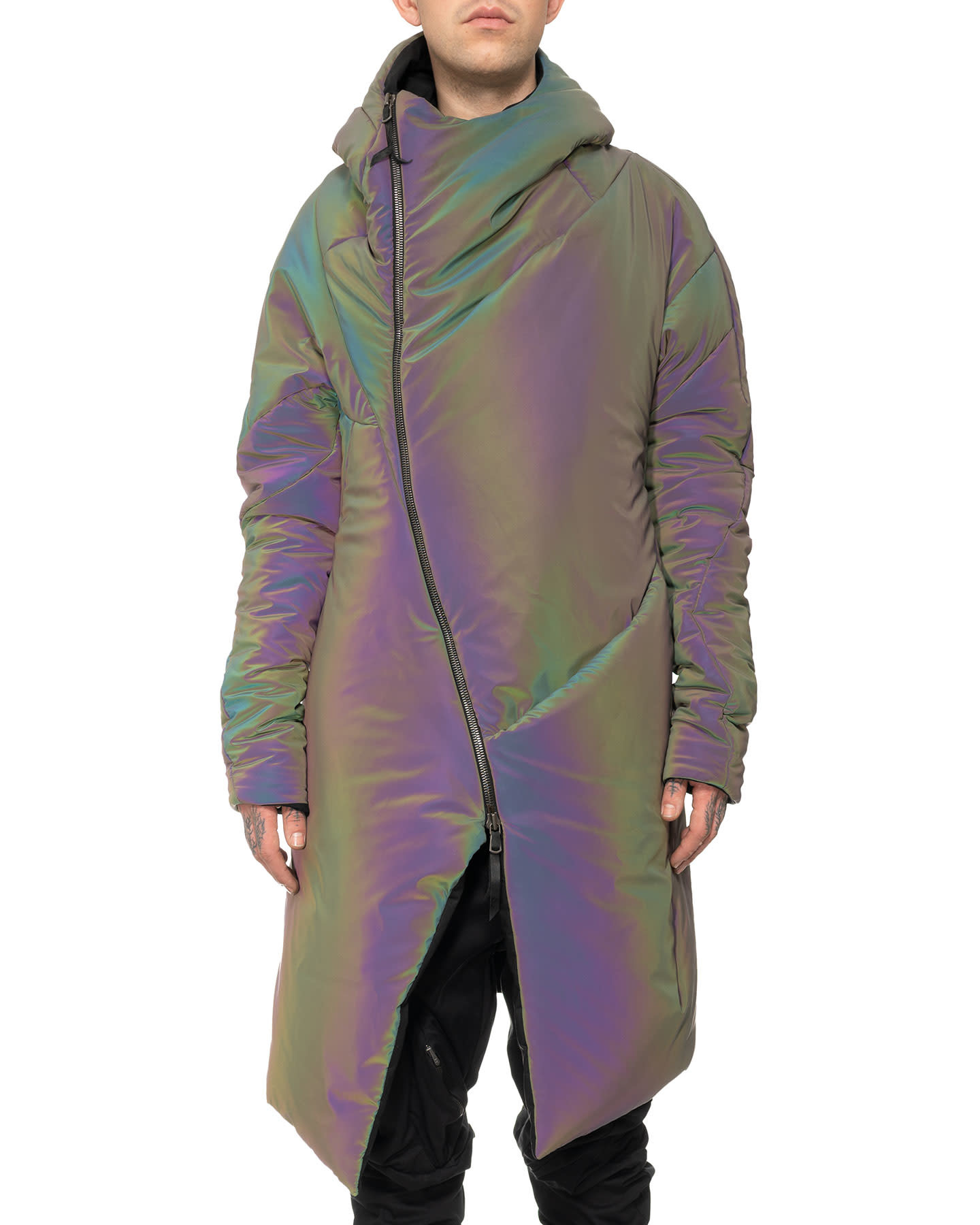 DISTORTION CURVED HOODED COAT - OIL SPILL