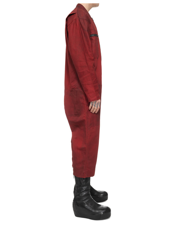 SANDRINE PHILIPPE DOUBLE ZIPPER BOILER SUIT - RED