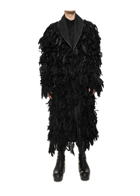 SANDRINE PHILIPPE ARTISANAL FEATHERED OVERCOAT