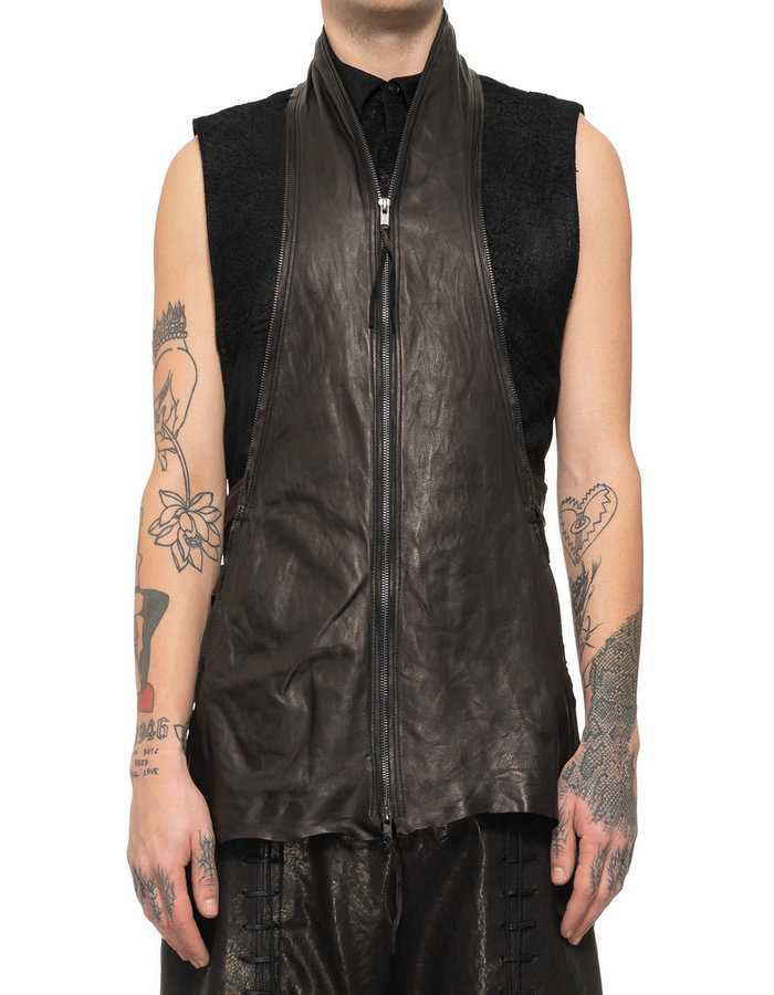 SANDRINE PHILIPPE DOUBLE ZIPPER LEATHER JACKET W/ DETACHABLE VEST