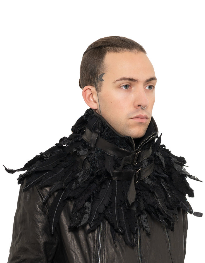 SANDRINE PHILIPPE FAUX FEATHER BELTED COLLAR