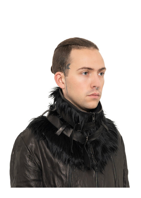SANDRINE PHILIPPE FAUX FUR BELTED COLLAR - BLACK