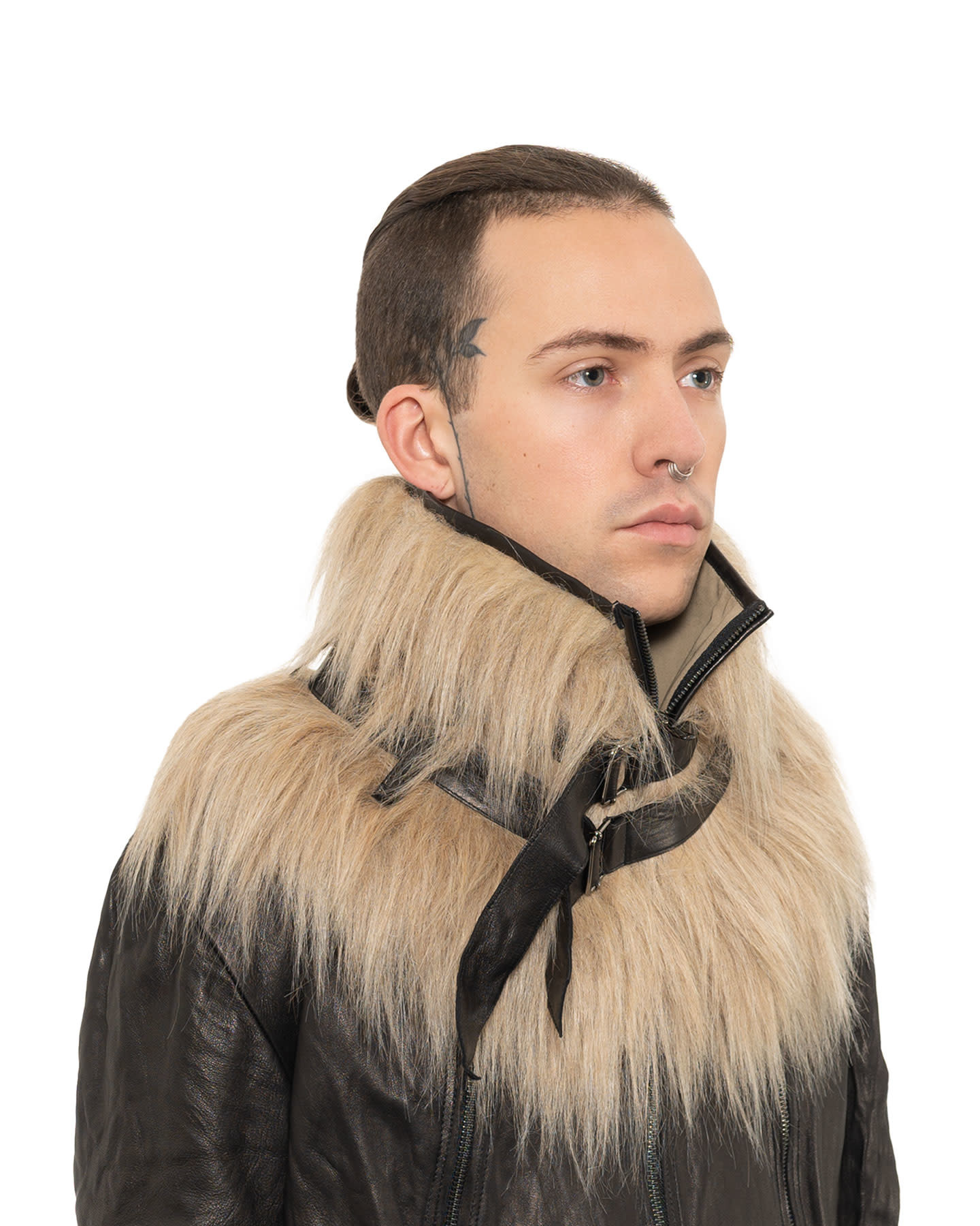 FAUX FUR BELTED COLLAR - SAND