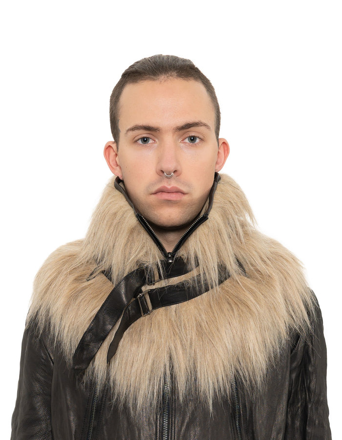 SANDRINE PHILIPPE FAUX FUR BELTED COLLAR - SAND
