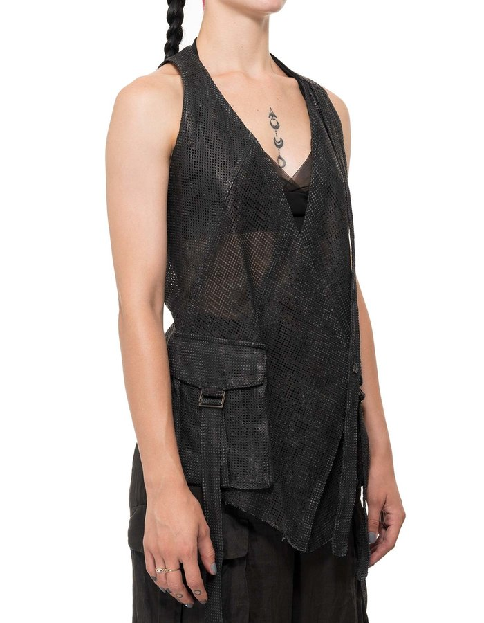 MASNADA PERFORATED LEATHER VEST - BLACK