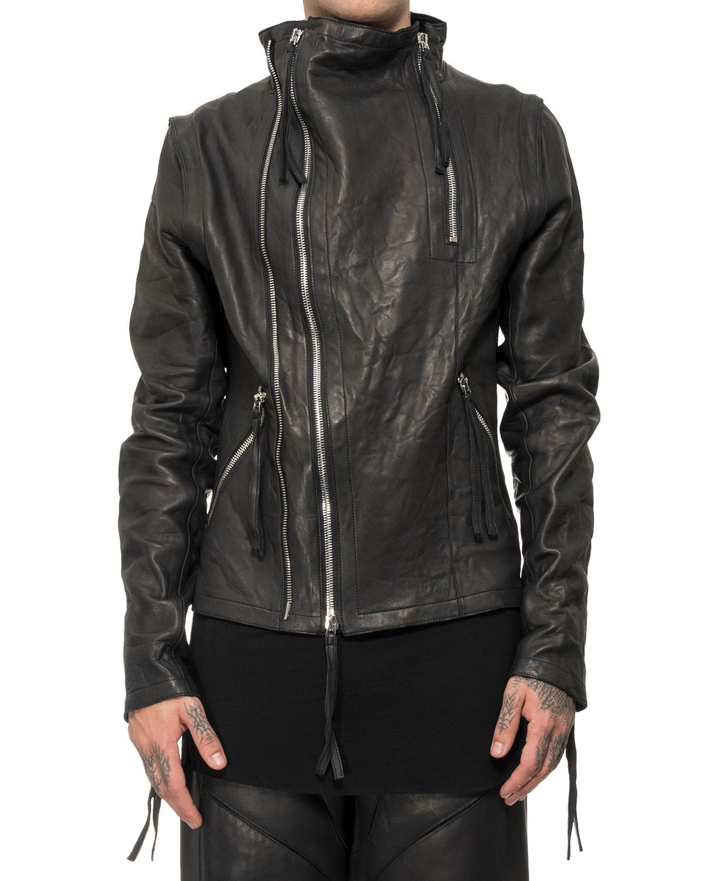 DOUBLE ZIPPER HIGH NECK LEATHER JACKET