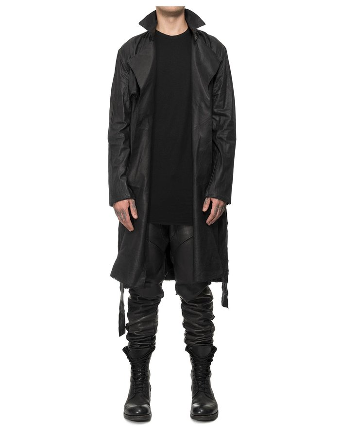 DAVIDS ROAD LEATHER BELTED TRENCH COAT