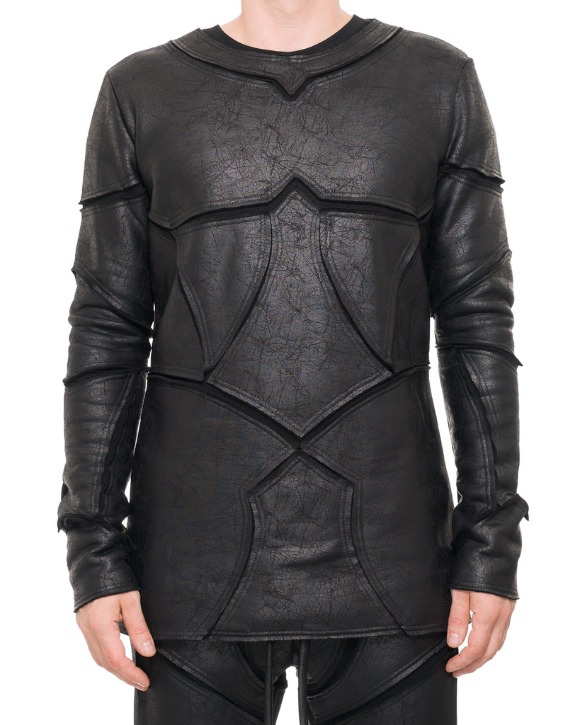 PATCHWORK LEATHER EFFECT LONG SLEEVE TOP