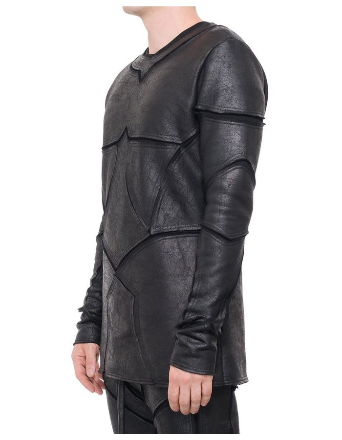 DAVIDS ROAD PATCHWORK LEATHER EFFECT LONG SLEEVE TOP