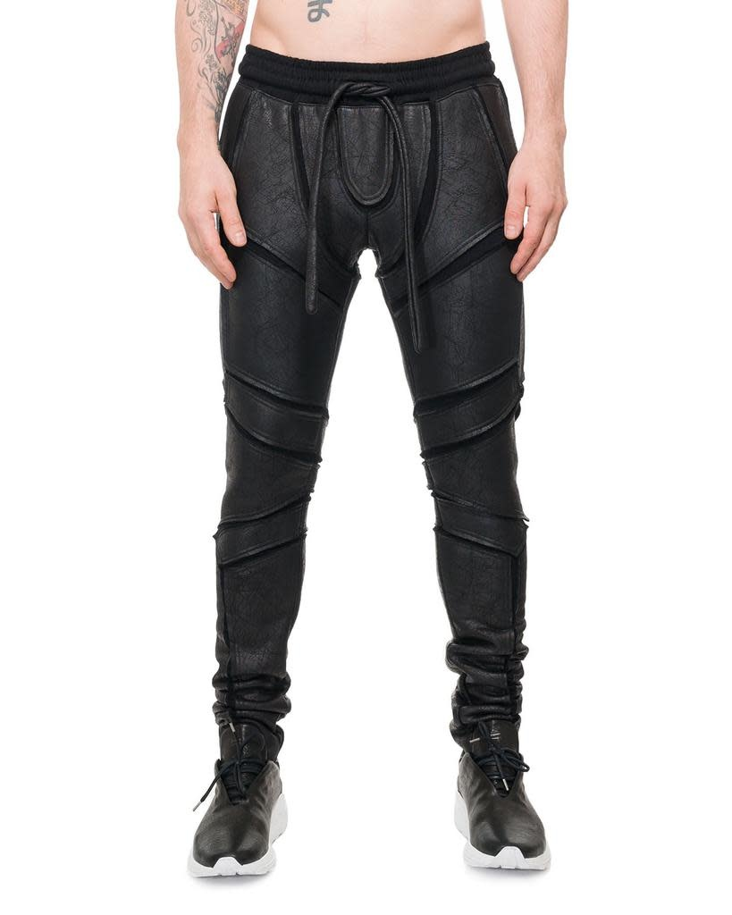 PATCHWORK ARMOR LEATHER EFFECT LEGGINGS