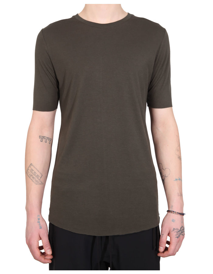 THOM KROM Cotton and Silk Crew Neck Tee - GREEN