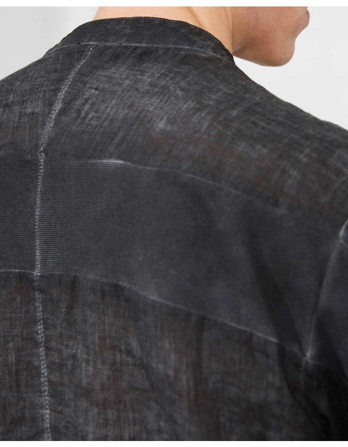 THOM KROM Rib Panel Linen Mandarin Shirt