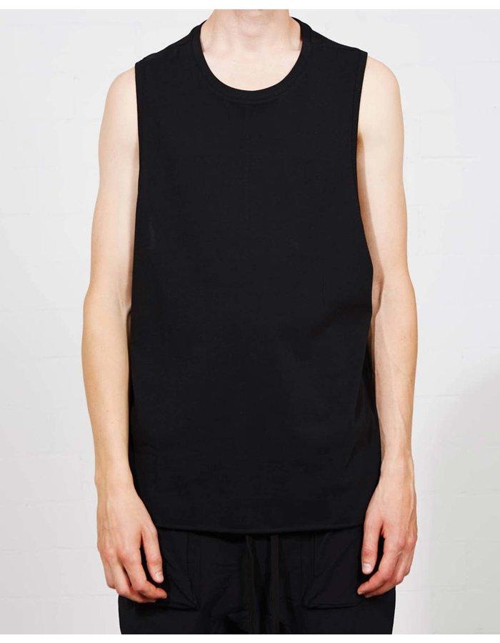 THOM KROM Rib Shoulder  Sleeveless T Shirt - Black