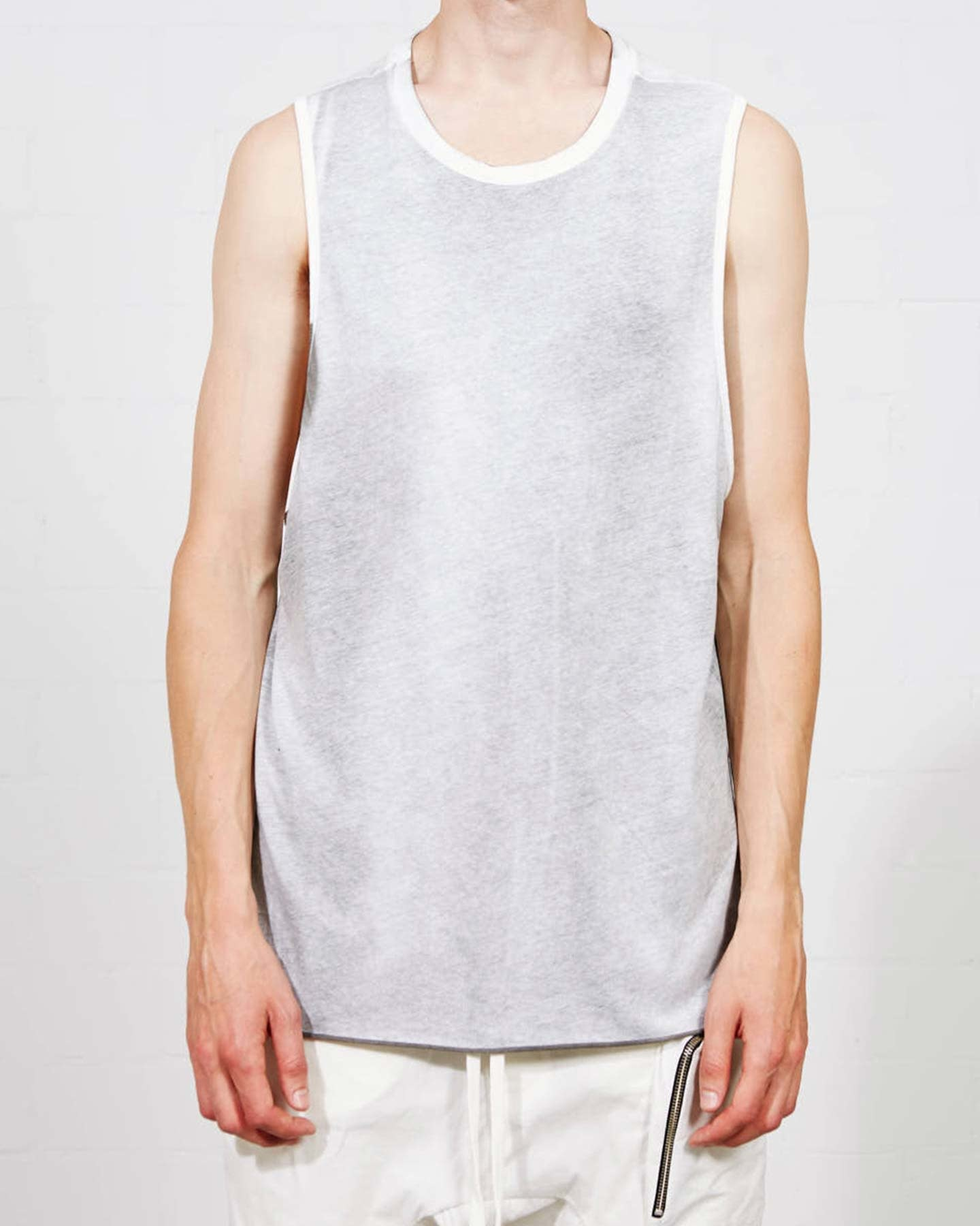 RIB SHOULDER  SLEEVELESS T SHIRT - SPRAYED