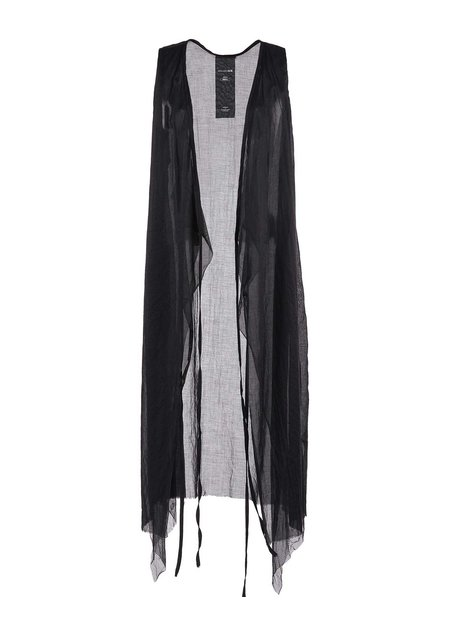 STUDIO B3 LONG COTTON GAUZE VEST W/ MESH - BLACK