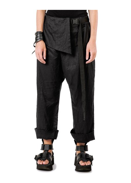 STUDIO B3 BELTED LINEN LOW CROTCH PANTS WITH PANEL